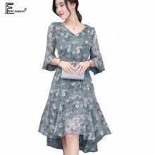 New Summer American Style Women Casual Loose Plus Size Clothing Belt Bow Plant Print Flare Sleeve Chiffon High Low Dress 5171