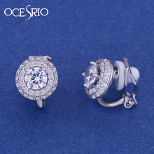 OCESRIO Fashion Jewllery Silver round Zircon Clip Earrings Without Piercing Puncture Earrings For Women Wedding Jewelry ers-k48(China)
