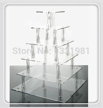Hot selling free shopping/High Quality 6 Tier Acrylic Square Cake Stands For Wedding Perspex Cupcake Display Stand