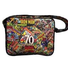 Marvel Comics Print Messenger Bags Avengers Super Hero Superman Captain America Flash-man Iron-man Spider Batman Leather Bag