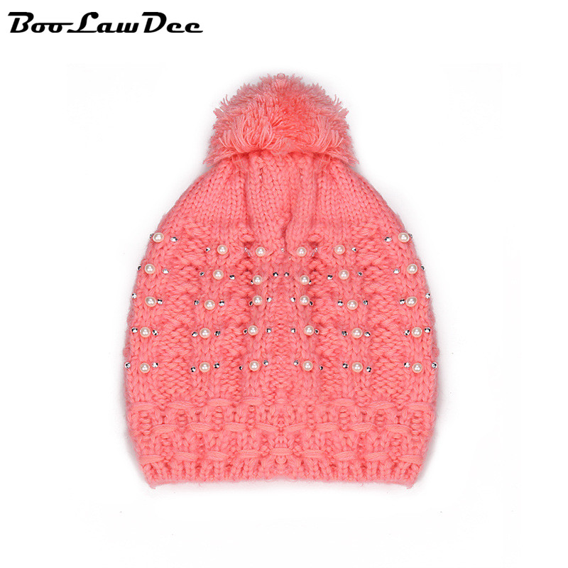 BooLawDee Ladies winter warming beanies headpiece elastic one size fits all pearl and pompon  red black white pink 4C028Одежда и ак�е��уары<br><br><br>Aliexpress
