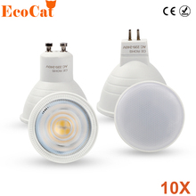 ECO Cat 10PCS/LOT LED lamp 220V 6W GU10 Spotlight MR16 2W 4W COB Chip Beam SMD 2835 Warm / cool white Energy Saving Bombillas(China)