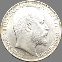 United Kingdom Coins 1902 Edward VII St.George Slaying The Dragon Crown Brass Silver Plated Copy Coin