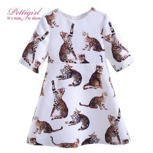 Pettigirl Latest Girls Daily Dresses Cats Printing Dress Daughter Casual Clothing Boutique Baby Fashion Costume G-DMGD908-864(China)