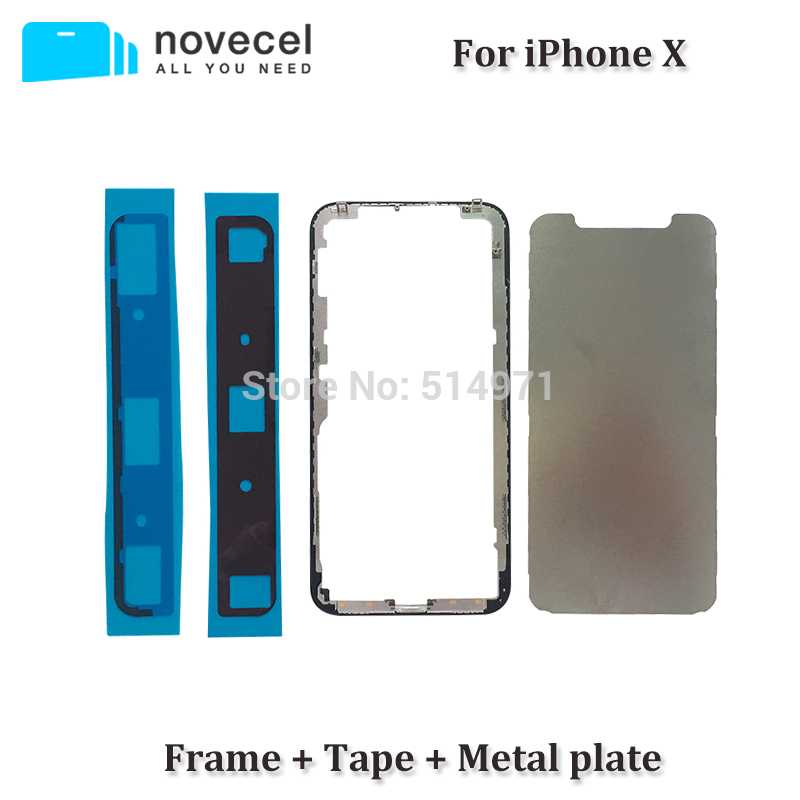 1 set Top Quality ORI Front Bezel Frame + Adhesive Tape + Metal Plate for iPhone X IX I10 IPX LCD Middle Frame