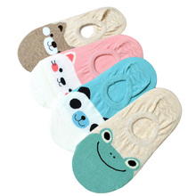 5 Pairs/lot Women Socks Candy Color Small Animal Cartoon Pattern Boat Sock Suit for Summer Breathable Casual Ladies Funny Sock