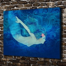 0476 Sexy Naked Mermaid Girl Figures Scenery. HD Canvas Print Home decoration Living Room bedroom Wall pictures Art painting