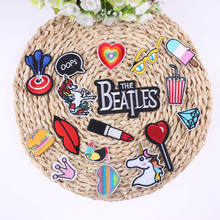 17Pcs Mixed Cheap Embroidered Cartoon Patches For Clothes Stickers Iron On Applique Unicorn Patch Badge For Clothing Accessories(China)