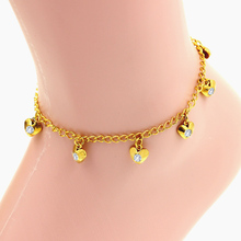 high quality stainless steel, heart pure shining crystal bracelet,gold vacuum Color charm bracelet anklet(China)