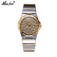 MISSFOX Role Watch Women Famous Brand Female Golden Clock Arabic Numeral Watch Quartz Gold Ladies Wrist Watches For Teenage Girl(China)