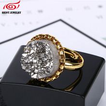 Wholesale Ring Suppliers Adjustable Gold Plating Natural Druzy Agates Quartz Rings More Color for Choice Hot! Sale! 2017 Jewelry(China)
