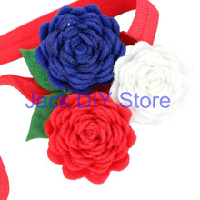 "35pcs/lot Three Tiny Felt Flowers 3/8"" FOE Headband For Baby Girls And Children Hairband Hair Accessories"