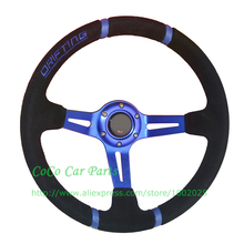 Blue Drifting Suede Auto Steering Wheel 350mm Racing Car Steering Wheel With Blue Arm