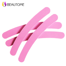 4Pcs Nail File 180/180 Pink Sanding Nail Buffer Professional Salon Nail Files Curve Banana Nail Tools Supplier Wholesale(China)