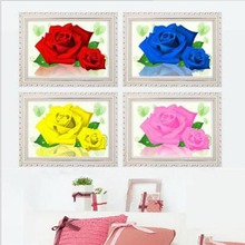 5D DIY Rose Diamond Painting Flower Crystal Diamond Painting Cross Stitch Flowers Needlework Home Decorative Picture Crafts