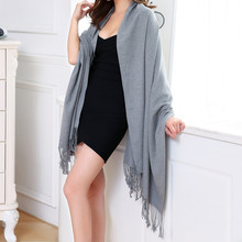 Women Winter Solid Gray Cashmere Tassel Scarf Fashion Outdoor Warm Scarves Women 180cm Holiday Winter Shawl Wrap Cachecol Sjaal(China)