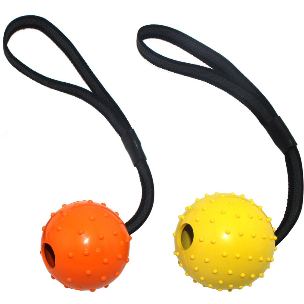 High Quality Multiple Color Natural Rubber Dog Toy Ball On A Strap Rope Pet Dog Training Toys(China (Mainland))