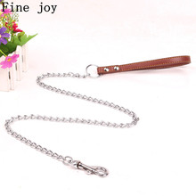 Fine joy Dog Leashes Handle Leads PU Leather Iron Chain dog leash Anti - Bite Metal Dog Chain Lead For small Medium Large dogs(China)