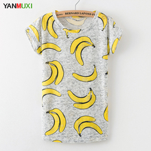 Plus Size Design Banana Print T Shirt Women 2017 Casual Short Sleeve Summer Top Street Fashion Sexy Holes Party Shirts Blusa(China)