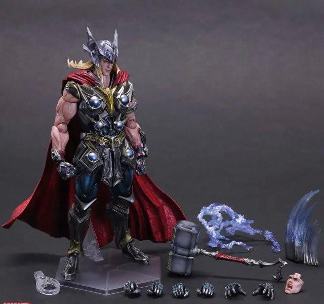 Play Arts Kai PA Thor Figure Super Hero Hammer  PA 27cm PVC Action Figure Doll Toys Kids Gift Brinquedos<br>