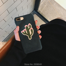 Cute Cactus New Style Corduroy Embroidered Cactus Case for iPhone 7 7plus 6 6plus Cute Cartoon Hard PC Plush Cover