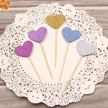 New!25PCS Lovely Heart Cupcake Toppers Birthday Cakes Topper Picks Kids Birthday/Wedding Festival Party Decoration Supplies