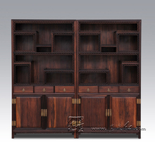 Classic Solid Wooden Bookcase Cabinet with lockers Mahogany Cupboard Chinese antique display Stand Rack furniture Rosewood Sark(China)