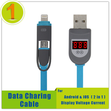 2 in 1 Digital Smart LCD Display Micro USB Lighting Data Charging Cable,Voltage Current Cable Cord For iPhone Android Samsung