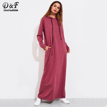 Buy Dotfashion Heather Knit Hidden Pocket Side Hoodie Dress 2017 Burgundy Long Sleeve Maxi Dress Women Shift Sweatshirt Dress for $23.98 in AliExpress store