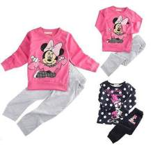 2015 Spring Autumn baby girls Sport clothing set 2pcs suit t shirt pants kids minnie mouse clothes sets