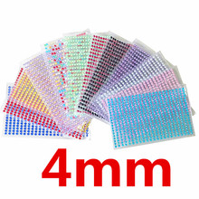 4mm 437 Pcs /set Acrylic Crystal Tattoo Sticker Decal Rhinestone Wall Smooth surface decoration Stickers  diamond