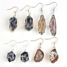 Kraft-beads Special Design Irregular Shape Slices Geode Agates Quartz Earrings For Women Unique Jewelry(China)