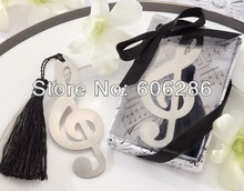 200pcs/lot Creative stainless steel bookmarks Music note Bookmark baby shower party favors wedding gift(China)