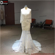 Romantic Long pearls Wedding Dress Backless Long Sleeve Court Train Mermaid Wedding Dresses Gowns Vestido de noiva 2016(China)