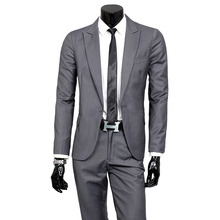 Hot spring and autumn 2016 men's fashion trend of casual Korean version of Slim solid single button Collectibles XL suits(China)