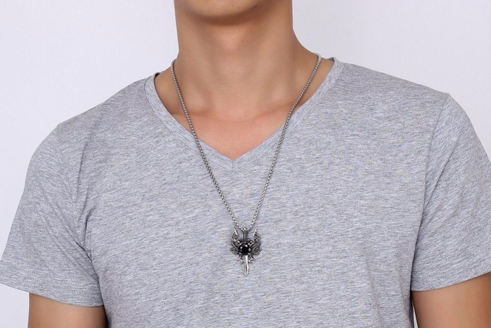 Men Double Dragon Cross Sword Pendant Necklace 11