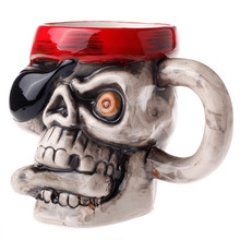 Creative 3D Pirate Skull Mug 350ml Cool Personalized Ceramic Coffee Cup Porcelain Zakka Novelty For Pub Bar Halloween Gift Decor