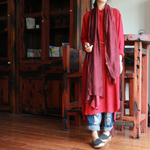 2017 Original Design High-grade Silk and Flax Gradient Scraf Women Red 190cm*80cm D641