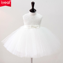 IYEAL A-Line/Princess Scoop Neck Knee-Length Satin Flower Girl Dress With Sequins Bows Christening Communion Girl Dresses(China)