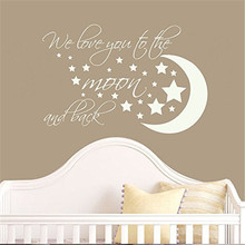 Wall Decal Decor Nursery Wall Decal Quotes - We Love You To The Moon And Back - Nursery Vinyl Wall Sticker # M258