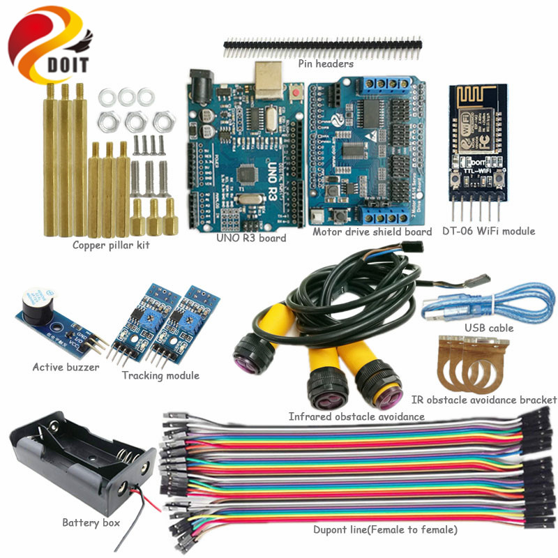 DOIT WiFi Control Kit with Arduino UNO R3 Board+Motor Drive Shield Board for Tracking Infrared Obstacle Avoidance Arduino RC Kit<br>