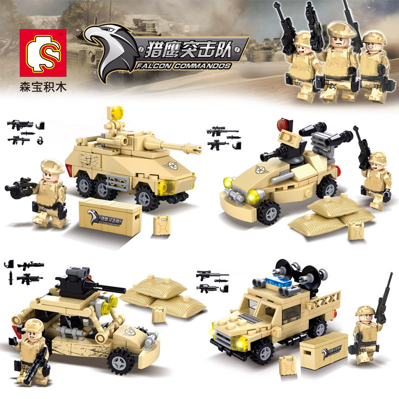HOT 4PCS World War Falcon Commandos Army Soldiers Minifigures Jeep Tank Chariot Weapon Building Blocks Compatible Legoe Military<br><br>Aliexpress