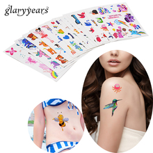 3 Pieces/set Children Small Glitter Tattoo Decal Princess Butterfly Styling Temporary Water Transfer Tattoo Sticker HS 6 Designs