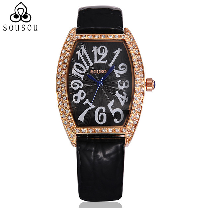 SouSou Fashion Arab Rectangle Black Leather Watch Women Waterproof Ladies Watch Top Brand Luxury Quartz Clock Women <br><br>Aliexpress