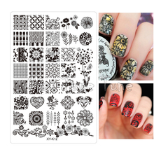 Clear White Acrylic Nail Stamping Plates Stamp Templates Image Polish Easy Transfer Tool XYK12 Flowers Rose Tulip Daisy(China)