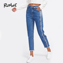 ROMWE Frayed Trim Mid Waist Tapered Jeans Women Blue Casual Denim Cropped Pants 2017 Autumn Zipper Fly Straight Jeans(China)