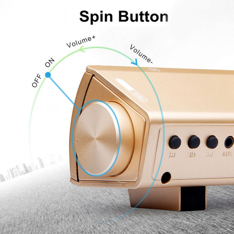 VTIN Wireless Bluetooth Speaker 4.2 SoundBar Remote Control TF Card TV Cellphone Tablet Surround Sound System TV Speaker Golden (10)