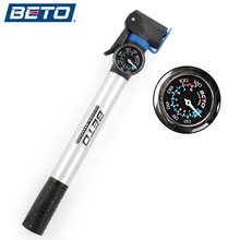 BETO NEW Aluminium Alloy Mini Portable Cycling Bike Bicycle Tire Inflator Air Pump With Pressure Gauge Bracket Accessories(China)