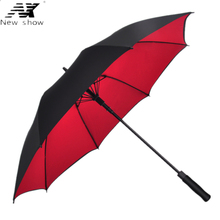 NX Large Double layer long golf umbrella  man and women's Semi automatic double layer windproof umbrella Custom logo wholesale