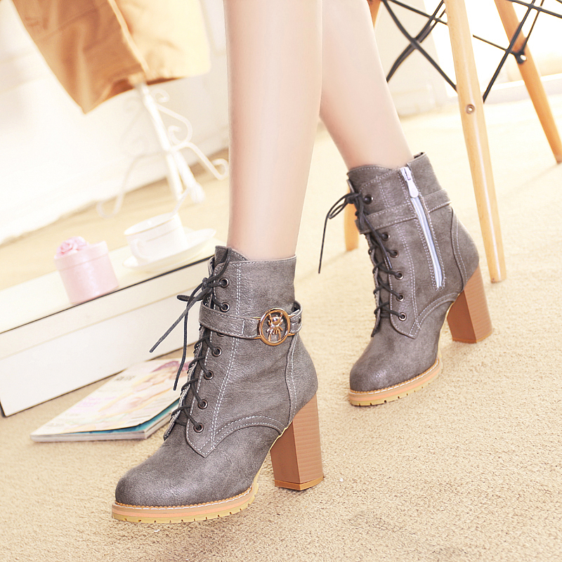 4 Color Winter Lace-Up Sexy Women Boots Fashion Platform punk high square heels Black Buckle Ankle boots Plus Size 34-43<br><br>Aliexpress